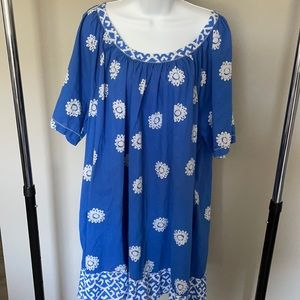 Ulla Popken Blue and White Floral Tunic Dress